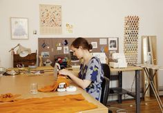 work space, studio, desk, interior, home, craft room, sewing, mirror, pin board