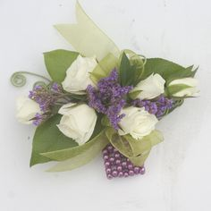 Like this with 3 for the ladies pinned corsage? Prom Flowers, Purple Wedding Flowers, Floral Wedding, Wedding Day, Wedding Stuff, White Wedding Arrangements, Floral Arrangements, White Spray Roses, White Roses