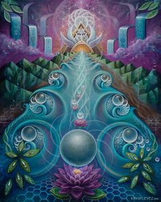 Krystleyez is a visionary artist who incorporates ethereal and organic forms with sacred geometry to portray the interconnected fabric of nature.