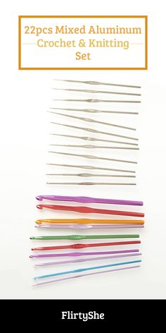 Curl up and make your next knitting or crocheting project shine with this aluminum crochet hook and knitting needle set.