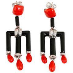 Amazing Coral Onyx Diamond Gold Dangle Earrings