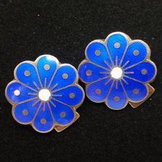 Flower Earrings Vintage Enamel Sterling Silver David Andersen Norway