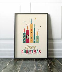 Christmas Wall Art Mid Century Christmas Print Christmas   Etsy Christmas Wall Art, Christmas Print, Merry Christmas, Scandi Style, Wall Art Prints, Mid Century, Etsy, Merry Little Christmas, Happy Merry Christmas