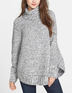 This turtleneck poncho sweater will look gorgeous with jeans or faux leather tights.