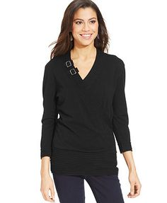 Style&co. Ribbed-Trim Buckle Sweater