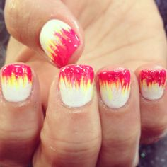 Nail shellac gelish gel nails nail art cute red link yellow orange white fade ombre fire flame