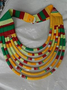 Handmade African Necklace/African dress/Wax Necklace by NasikAfro Diy African Jewelry, African Crafts, African Accessories, African Necklace, African Men Fashion, African Fashion Dresses, African Dress, African Attire, Fashion Kids