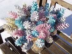 Winter wedding decorations, Pine cones. Special occasion, party, baby reveal. ONE DOZEN. VERY SPARKLY. Just doesnt show in the photos well. A mix of four kinds of Pine cones, White, Red, Jack, Scotch (aka Scots). I can also do custom colors. If you want larger quantities than what I have listed, just ask. I probably have more. One color alone would be pretty or maybe a mix of white and frosty blue; ivory and white; white, frosty blue, and white with blue tips, etc. ALSO AVAILABLE ON 12-INCH…