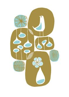 Spring - 8.5 x 11 LIMITED EDITION Mid Century Scandinavian Inspired Giclee Art Print.