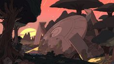 Part 2 of a selection of Backgrounds from the Steven Universe episode: Friend Ship Art Direction: Jasmin Lai Design: Steven Sugar, Emily Walus, and Sam Bosma Paint: Amanda Winterstein and Ricky Cometa. Background Drawing, Cartoon Background, Animation Background, Steven Universe Background, Steven Universe Wallpaper, Episode Backgrounds, Multimedia Artist, Environment Design, Environment Concept