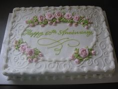 Sheet Wedding Cake Rosettes | This is an 11x15 sheet cake with pink royal icing roses. The rest is ...