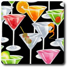 Martini Glasses Drinks On Black by Timeless Treasures Alcohol Fabric / Happy Hour Fabric / Fat Quarter / 1 Yard Cut / Yard Cuts by SewWhatQuiltShop on Etsy Olives, Modes4u, Novelty Fabric, Fabulous Fabrics, Fabric Patterns, Sewing Patterns, Fabric Design, Cocktails, Drinks