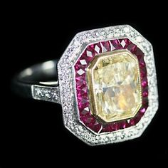 Yellow Diamond and Ruby Ring