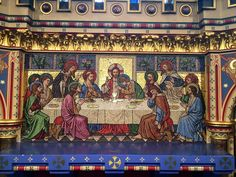 Depiction of the Last Supper as a glass mosaic reredos within All Saints' Church, Reading, UK 2014-07-07 23-07 - Last Supper - Wikipedia, the free encyclopedia