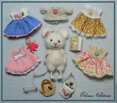 Купить Мышка с одёжкой - мышь, мышка, мышонок, вязаная игрушка, вязаная мышка, мышь игрушка