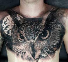 Mens Owl Tattoo, Cute Owl Tattoo, Owl Tattoo Small, Bird Tattoo Men, Tattoo Owl, Tattoo Neck, Lace Tattoo, Eagle Chest Tattoo, Cool Chest Tattoos