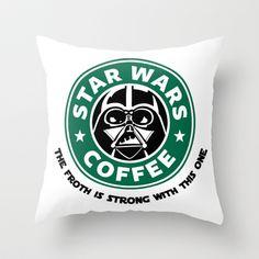 Star Wars Coffee Throw Pillow/ combining my 3 fav things: star wars, coffee and sleep (pillow)-Becka