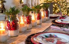 Christmas decorations include outdoor decorations, indoor decorations, Christmas table decorations and other such similar decorations to create the feel of … Christmas Candle Decorations, Modern Christmas Decor, Whimsical Christmas, Christmas Table Settings, Christmas Candles, Table Decorations, Centerpiece Ideas, Christmas Time, Christmas Crafts