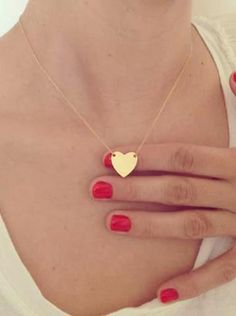 Simple Designer Modern Metal Stamped Heart Pendant Choker Necklace in Gold or Silver - www.MyBodiArt.com