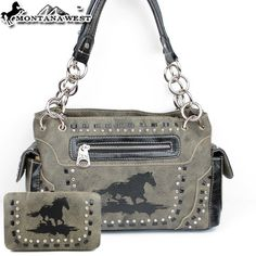 Montana West Cow Girl Horse Handbag in Gray Western « Clothing Impulse