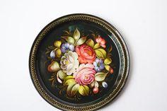 bandeja con flores rusa por Limbhad en Etsy