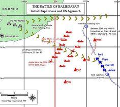 Carte de la bataille navale opposant les destroyers américains au convoi japonais devant Balikpapan  L'action de l'aviation néerlandaise ne retarde pas non plus les troupes d'assaut, qui arrivent sur le rivage. La ville de Balikpapan est capturée dans la foulée dans la nuit, sans aucun combat, la petite garnison néerlandaise ayant évacué la place. Il y a peu de combats et les troupes japonaises commencent immédiatement à préparer leur prochain débarquement sur Banjarmassin.