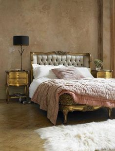 Rococo Revival Bedroom. An elegant French bedroom indulged with luxury by investing in gilt-edged, elegantly turned furniture and chic color scheme.