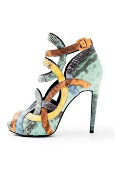 Pierre Hardy Spring 2013 Collection Green, yellow and rust snakeskin geometric sandal Dream Shoes, Crazy Shoes, New Shoes, Me Too Shoes, Pierre Hardy, Christian Louboutin, Stilettos, Jimmy Choo, Nylons