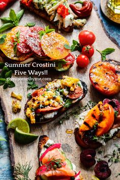Summer Crostini Five Ways – you'll love these delicious crostini combos showcasing summer's bounty! From Top - Lemony Lump Crab, Heirloom Tomato Caprese, Mexican Street Corn & Chorizo, Tuscan Stone Fruit & Prosciutto, and Smoked Salmon & Cucumber Everything Bagel #crostini #summercrostini #appetizers #fingerfoods #fundinners #summerrecipes #giveitsomethyme | giveitsomethyme.com