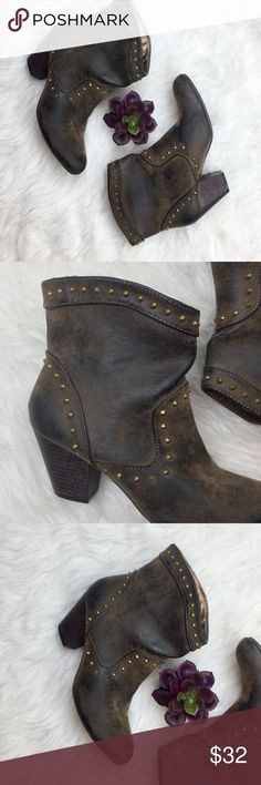 Distressed Studded Boots Allow these boots to be your Winter Fav! Distressed Studded Bookis. Beautiful color and design. Perfect with jeans, yet also complimentary for a skirt. Heel is 2 1/2in. In Excellent Condition. Offers Accepted. Shoes Ankle Boots & Booties