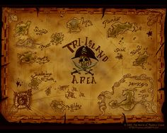 Map of the Tri-Island Area harmonizing all the maps of it from the different games. The Tri-Island Area is where the first 4 games take place, an area of the Caribbean including all islands under the pirate governor. The 2 unnamed islands above Mêlée are, from left to right, Spittle and Pinchpenny, both of which are never traveled to, but are shown on the map in game 4. The map also includes Monkey Island, whose location is unknown, and Dinky Island, which is connected by underground…