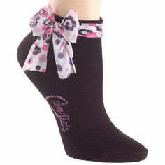 dark purple sock with a ribbon
