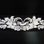 Wings of Crystal Belt: one of a kind piece inspired by butterfly patterns 72″x 2″ black Dupion silk tie belt hand embroidered with Swarovski crystals can be tied around the waist, in hair, or around the neck. $250.00