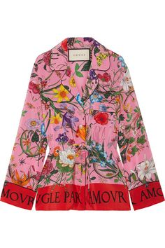 GUCCI Printed Silk Crepe De Chine Shirt. #gucci #cloth #tops