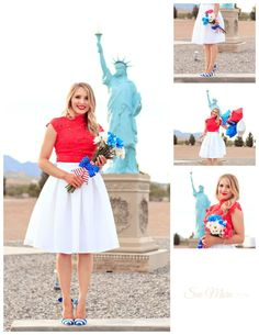 patriotic 4th of july outfit, white skirt, red lace top, blue striped heels