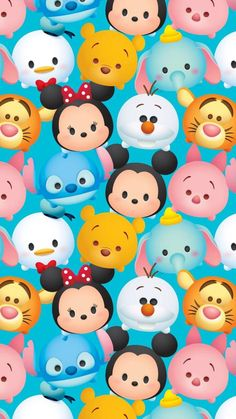 From Springs Creative. Disney, Mickey Mouse Tsum Tsum Mickey and Friends Packed On Blue 1 yard cotton Fabric wide Multiple yards are cut in one continuous piece Disney Usa, Disney Mickey, Tsum Tsum Wallpaper, Disney Fabric, Tsumtsum, Disney Tsum Tsum, Cute Disney Wallpaper, Mickey And Friends, Cute Wallpapers