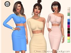 MP One Side Sleeve Bodycon at BTB Sims – MartyP via Sims 4 Updates