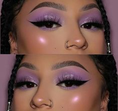 """💕 ・・・ Close up 💜 Products breakdown : Brows : dipbrow pomade Eyes : pastels """" LILAC """" palette , Matt & metal melted shadows in """" French Lace - Diamond Drip """" and the """" Life Liner """" to create the wing Baddie Makeup, Edgy Makeup, Flawless Makeup, Cute Makeup, Pretty Makeup, Skin Makeup, Beauty Makeup, Makeup Inspo, Stunning Makeup"""