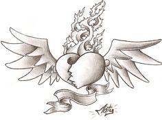 dibujos a lapiz de corazones chidos con alas - Buscar con Google