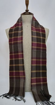 Men's Scarf, Brown and Claret Red Men's Scarf, Brown and Claret Red Scarf - SC204 #handmadeatamazon #nazodesign