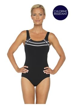2f8425faee44d Togs flattering black pool tank one piece, with grey and white binding  detailing. This