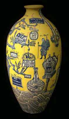 Grayson Perry (b. The Rosetta Vase, © Grayson Perry. Contemporary Ceramics, Contemporary Art, Sculpture Art, Sculptures, Arte Popular, Ceramic Artists, Mellow Yellow, Art Plastique, British Museum