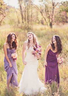 I love their purple and lavender bridesmaid dresses! But I especially love their mini bouquets...(not so much the bride's lol)