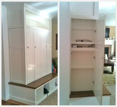 Mudroom Storage Idea for Coats, Bags & Shoes: I like the idea of having doors to hide the stuff
