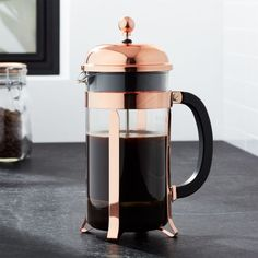 An original, dome-topped Bodum French press coffee maker with contemporary flair. The plunger-style brewing method results in fresh French press coffee revered for its rich, full-bodied character. Crate And Barrel, Pour Over Coffee Maker, French Press Coffee Maker, Copper French Press, Copper Accessories, Kitchen Accessories, Chambord, D House, Shopping