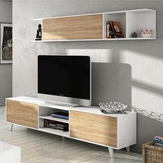 ZAIKEN PLUS Meuble TV scandinave blanc brillant et décor chêne - L 180 cm - Achat / Vente meuble tv ZAIKEN PLUS Meuble TV 180 cm - Cdiscount