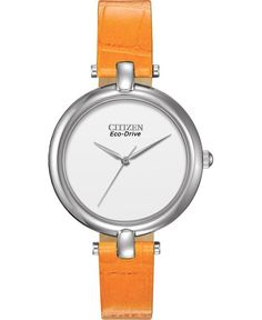 Citizen Eco-drive Women's Silhouette Orange Leather Band Watch for sale online Cuir Orange, Orange Leather, Swiss Army Watches, Citizen Eco, Boutique, Cool Watches, Women's Watches, Stainless Steel Case, Gold Watch
