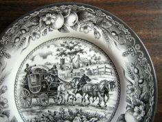 Black Toile Transferware Horses Carriage Fruit Plate M