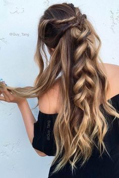 15 Easy Hairstyles for Long Thick Hair - Trend Frisuren Holiday Hairstyles, Messy Hairstyles, Pretty Hairstyles, Hairstyle Ideas, Long Thick Hairstyles, Cute Kids Hairstyles, Easy Hairstyles For Work, Date Hairstyles, Party Hairstyle