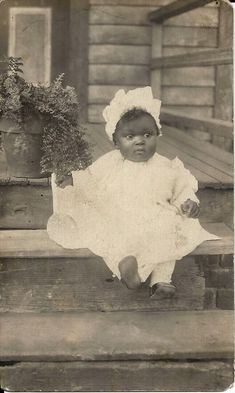 Antique African American Doll Face Baby Girl Cutie RPPC Old Black Americana